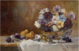 """Behrendt (1. Hälfte 20. Jh.) """"Stilleben mit Obst und Blumenschale, Öl/Lw., signiert u.r.,"""