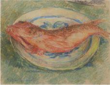 """Richter-Lefensdorf, Hugo (1854 Levensdorf-1904 Ahrenshoop) """"Fischstilleben"""","""