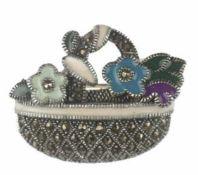 """Brosche """"Blumenkorb"""", 925er Silber, mehrfarbig emailliert, Markasit, Maße ca. 3,2 x 2,5"""