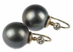 Paar Ohrhänger, 585er GG, echte Tahitiperlen, Durchmesser ca. 14 mm, sehr gute Qualität, 2
