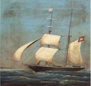 """Kapitänsbild """"Schiffsporträt der Constance 1867- geführt vom Kapitän Hermann Bartmann"""","""