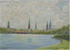 """Clausen, H. (20. Jh.) """"Hamburg von der Alster gesehen"""", Öl/Lw., sign. u.l., 30x40 cm,"""