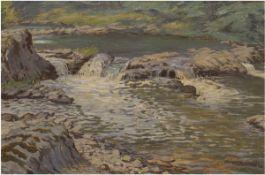 """Becker-Tempelburg, Franz (1876-?) """"Wasserlauf"""", Öl/Lw., sign. u.r., kl. Farbabplatzung,"""