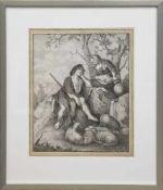 """Maler um 1800 """"Schäferszene"""", Aquarell/Sepiazeichnung, unsign., 40x31 cm, hinter Glas im"""
