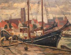 """Jackowski, Frantz von (1885-1975) """"Hafen von Wismar"""", Öl/Karton, sign. u.r., 26,5x34,5 cm"""