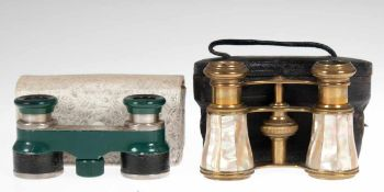 2 Operngläser, Messing mit Perlmutteinlage und Rodenstock Eldis, grün/schwarz ummantelt,