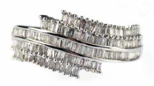 Ring, 750er WG, Gew. ca. 4,0 g, Brillanten ca. 0,76 ct. im Baguetteschliff, RG 53,