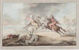 "Süddeutscher Maler um 1800 ""Kampfszene"", Aquarell, unsign., 17x27 cm, hinter Glas im"