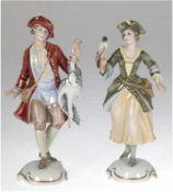 "2 Rosenthal-Figuren ""Falknerin"", und ""Jäger"", Entwurf Hugo Meisel, sign., Modellnr. 870a"