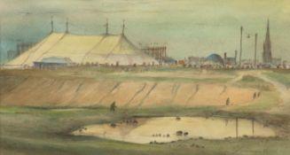 """Bollmann, W. """"Zirkuszelt vor der Stadt"""", Aquarell/Papier, sign. u.r. und dat. '50, 21x35"""