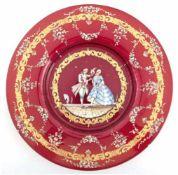 Murano-Teller um 1900, wohl Salviati, rotes Glas, mit polychromer Email- und Goldmalerei,