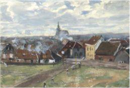 """Irmer, Carl (1834-1900) """"Stadtansicht"""", Mischtechnik, sign. u.r., 16x23 cm, hinter Glas"""