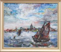 "Sieloff, Werner (1899-1974) ""Stadtansicht am Meer"", Öl/Hf., sign. u. dat. 1963 u.r., 49x59"