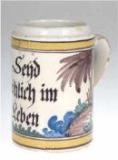 Fayence-Krug, Hannoversch Münden, um 1800, bemalt mit bunten Scharfeuerfarben und