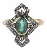Ring im Art-Deco-Stil, 750er GG/WG, Gew. ca. 3,2 g, Smaragd 0,83 ct., Brillanten 0,31 ct.,