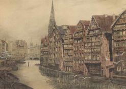 """Stobbe, Max (1883 Altona-1963 Hamburg) """"Zwischen Bäckergang und Michaeliskirche"""","""
