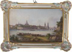 """Meissen-Wandbild """"Ansicht von Dresden"""", 19. Jh., feine polychrome Malerei, stilisierter"""
