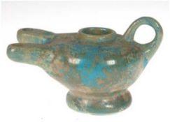 Persisch-Islamische Kashan Öllampe, 13. Jh., Keramik, blau glasiert, stellenweiseabgeplatzt,