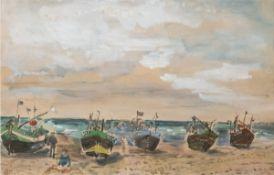 """Kretschmar, Bernhard (1889 Döbeln-1972 Dresden) """"Boote am Strand von Boltenhagen"""",Aquarell/P"""