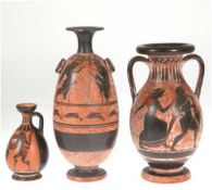 3 Vasen, Keramik, Griechenland, im attischem Stil, figürliche Darstellungen auf braunemGrund