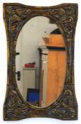 Spiegel, Weichholz, floral beschnitzt und bronziert, 71x45 cm