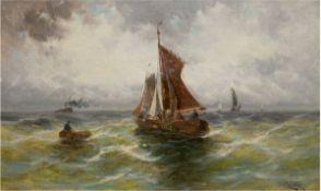 """Otte, C. (Marinemaler um 1900) """"Fischerboote auf bewegter See"""", Öl/Lw., sign. u.r.,37x57,5 c"""