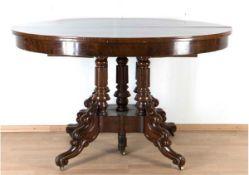 Großer Louis-Philippe-Salontisch, Mahagoni massiv und furniert, ausziehbar auf 183 cm, aufMe