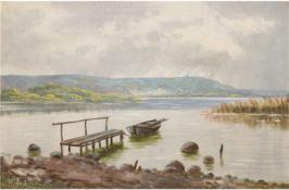"Dänischer Maler ""Seenlandschaft mit Ruderboot am Steg"", Öl/Lw., undeutl. sign. u.l., 45x65c"