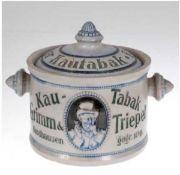 "Kautabaktopf um 1900, ""Kau-Tabak Grimm & Triepel, Nordhausen, gegr. 1949"", salzglasiertesStei"
