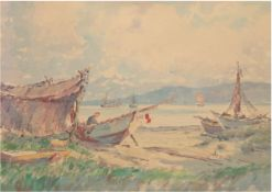 "Harders, Johannes (1871 Kellenhusen-1950 Hamburg) Pseud. ""H. Clausen"" ""Fischerboote amUfer"","