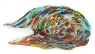 Murano-Schale, polychrome Farb- und Silbereinschmelzungen, asymmetrische Form, 5,5x21x19cm