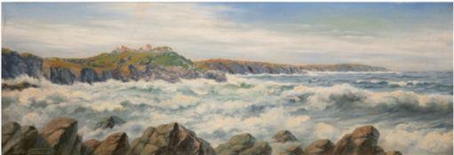 """Ellebaek, L.C. (Maler des Mitte 20. Jahrhundert) """"Stürmische Brandung vor der Küste"""",Öl/Lw"""