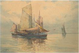 """Harders, Johannes (1871 Kellenhusen-1950 Hamburg) Pseud. """"H. Clausen"""" """"Fischerboote aufruhige"""