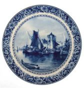 "Delfter-Wandteller ""Hafenszene"", Holland, Kearamik, Blaumalerei, mit floralem Dekorrand,Dm. 2"