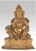 """Figur """"Bodhisattva-Jambhala"""", Bronze, vergoldet, auf einem Lotus Sockel, der Sockel istversie"""