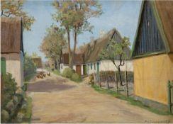 """Larsen, Axel W. """"Hühner auf der Dorfstraße"""", Öl/Lw., sign. u.r., 2 kl. Hinterlegungen,28,5"""
