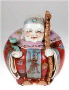 Buddha, China, Porzellan, polychrom bemalt, H. 23 cm