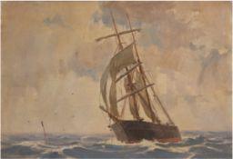 "Kielland-Brandt, Sigurd (1886-1964) ""Segelschiff auf offener See"", Öl/Lw., sign. u.r.,Farbsp"