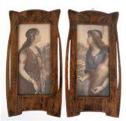"""Paar Jugendstil-Rahmen, Eiche mit floralem Flachschnitzdekor und Namen """"Rahel"""" bzw.""""Esther"""","""