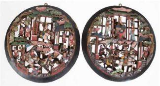 """2 Wand-Relief-Bilder """"Figürliche Darstellungen mit Reiter- und Kampfszenen"""", China, Holzgesc"""