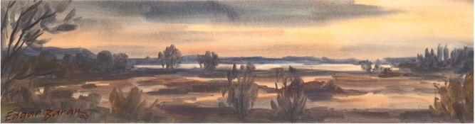 "Baran, Edgar (1937-2011) ""Seenlandschaft"", Aquarell, sign. u. dat. '90 u.l., 17x64 cm,hinter"