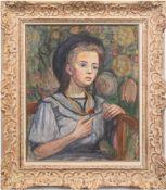 "Lotz, Marie (1877 Basel-1970 Birsfelden) ""Porträt eines sitzenden Mädchens"", Öl/Lw., sign."