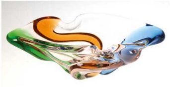 Murano-Schale, farblos mit farbigen Einschmelzungen, 8,5x25x14 cm