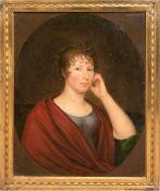 """Paar Porträts """"Dame mit rotem Schal"""" und """"Herr im Anzug beim Öffnen eines Briefes"""", um1810,"""