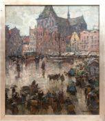 "Graf, Gerhard (1883 Berlin-1958 Stockholm) ""Neuer Markt in Rostock"", Öl/Lw., sign. u.r.,rü"