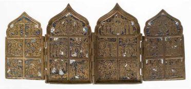 Reiseikone, 19. Jh., Messing, 4-flügelig, reiche reliefierte Heiligendarstellungen,partiell