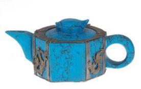 Kännchen, Keramik, gemarkt, blau marmoriert, Silbermontierung mit Drachen- undSchmetterlingm