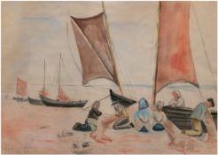 """""""Fischer an der kurischen Nehrung"""", Aquarell, bez. u. dat. '37 u.l., unsign., 46x59,5 cm,im P"""