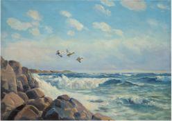 "Moller, Leon ""Wildenten über dem Meer"", Öl/Lw., sign. u.l., 52x62 cm, Rahmen"
