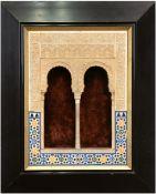 Orientalischer Rahmen, ebonisierter Profilrahmen, innen architektonisch gestaltet,reliefiert